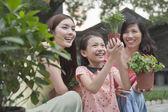 Women and Young Girl Gardening — Stock Photo