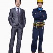 Businessman and construction worker — Stock Photo