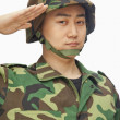 Stock Photo: Min military uniform saluting