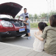 Father and Son Try to Fix the Car — Stock Photo #36403747