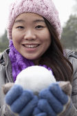Woman with Snowball — Stock Photo