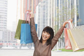 Woman holding shopping bags up — Stock Photo