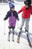 Mother and Son Skiing in Ski Resort — Stock Photo