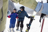 Family Skiing in Ski Resort — Stock Photo
