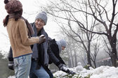 Friends Playing in the Snow — Stock Photo