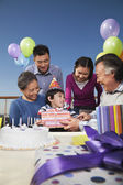 Birthday party, multi-generation family — Stock Photo