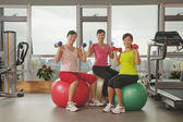 Women exercising with fitness ball — Stock Photo