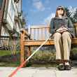 Stock Photo: Blind womsitting on bench