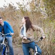 Stock Photo: Couple cycling