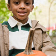 Foto de Stock  : Boy holding pumpkin