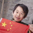 Boy in Traditional Courtyard with Chinese Flag — Stock Photo #36638461