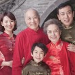 Multi-generation Family portrait by traditional Chinese building — Stock Photo
