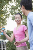 Couple Jogging in Park — Stock Photo