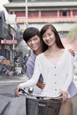 Young Couple on a Bicycle — Stock Photo