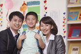 Parents with their Son in Classroom — Stock Photo
