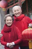 äldre par anläggning kinesiska lantern — Stockfoto