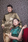 Cool Couple in Chinese Traditional Clothing — Stock Photo