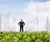 Businessman with city skyline in the background — Stock Photo