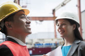 Two engineers smiling — Stock Photo