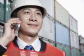 Engineer on the phone — Stock Photo