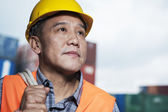 Proud worker in a shipping yard — Stock Photo
