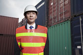 Proud engineer in a shipping yard — Stock Photo