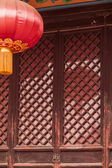 Door and red lantern — Stock Photo