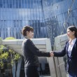 Stock Photo: Businesswomen shaking hands outdoors