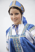 Woman in traditional clothing from Russia — Stock Photo