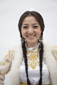 Woman in traditional clothing from Kazakhstan — Stock Photo