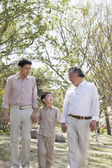 Multi-generational family going for a walk in the park — Stock Photo