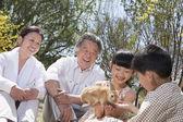 Dziadkowie z wnukami w parku — Zdjęcie stockowe