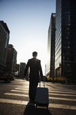 Businessman walking down the street with luggage — Stock Photo