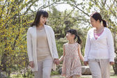 Famiglia multi-generazionale, una passeggiata nel parco — Foto Stock