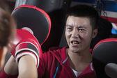 Бокс тренер обучение с студентка — Стоковое фото