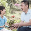 Father and son planting flowers — Stock Photo #36660111