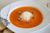 Pumpkin crème soep met parmezaanse kaas — Stockfoto