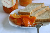 Marmalade with pieces of tangerine on the plate — Stock Photo