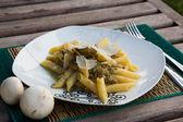 Pasta with stewed mushrooms — Stock Photo