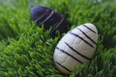 Chocolate Easter eggs in the grass, shallow bakground — Stock Photo