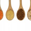 Four wooden spoons full of grains — Stock Photo #45710353