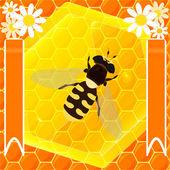 Abeja y miel — Vector de stock
