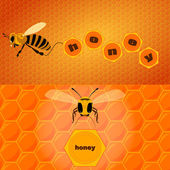 Bee and text — Vector de stock