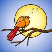 Bird on branch on background sun — Stock Vector