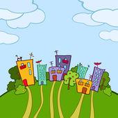 Colorful eco-friendly town — Stockvektor