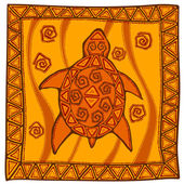 Vector turtle in ethnic style — Vector de stock