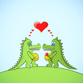 Crocodile's love — Stockvector