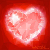Background with heart and triangle polygons — Stok Vektör