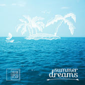 Sketch on summer dreams on the background images. island in the ocean — Stock Vector