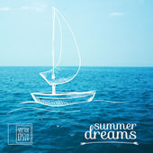Sketch on summer dreams on the background images. Boat on the sea — Stock Vector